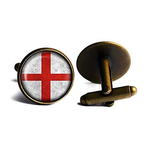 England English Flag Englische Flagge Antike Bronze Manschettenknöpfe