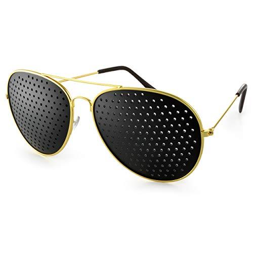 """Rasterbrille im stylischen """"Pilotendesign"""", Lochbrille für Augentraining zur Entspannung und gezieltem Training, Gitterbrille mit faltbaren Bügeln, Form E, Farbe: gold/schwarz, Marke Ganzoo"""