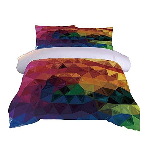 3D-sängkläder hans och hennes sängveck Easy Care dubbel (200 x 200 cm), 3 delar set 1 del påslakan + 2 delar matchande örngott