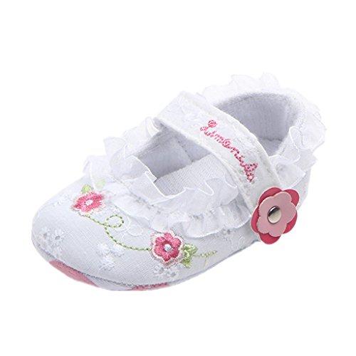 Babyschuhe Auxma Baby Mädchen Spitze Blumen Prinzessin Schuhe,Säugling weiche Anti-Rutsch Schuhe,Baby Prewalker Schuhe für 0-6 6-12 12-18 Monate (6-12 Monate, Weiß)