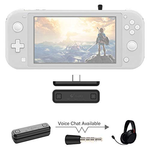 GuliKit Route Air Pro Bluetooth-adapter Compatibel voor Nintendo Switch & Switch Lite PS4 PC, Dual Stream Bluetooth draadloze audiozender met aptX LL, Ondersteuning in game Voicechat