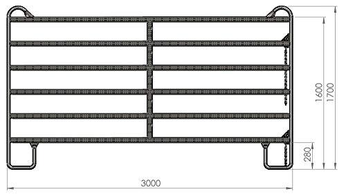 Eider Weidepanel, 1,70m hoch, Zaunpanel mit Schnell-Kettenverschluss - 3,0m