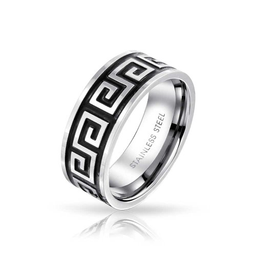 Bling Jewelry Geometric Ancient Fret Greek Key Pattern Flat Wedding Band Ring for Men Women Black Silver Two Tone Stainless Steel 8MM