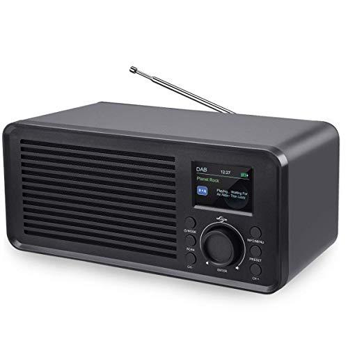 VIFLYKOO DAB Radio,Bluetooth Stereo DAB Radio Kompaktanlage Digitales DAB+,UKW mit 2 Lautsprecher,Sleep-Timer,USB,AUX,LCD Bildschirm,Alarm Wecker,Tastensteuerung für Eltern und Freunde