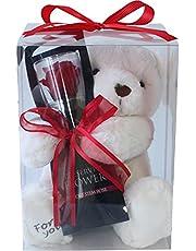 プリザーブドフラワー (ギフトラッピング付き プレゼント お祝い [ 母の日 記念日 誕生日 ] アレンジ クマさんと一輪の薔薇