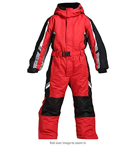 YFJL Ski Suit for Men, Adult, One Piece Snow Suit Ski Snowboard Wear Winter Warm Waterproof Ski Jumpsuit with Hood,Rot,XXXL