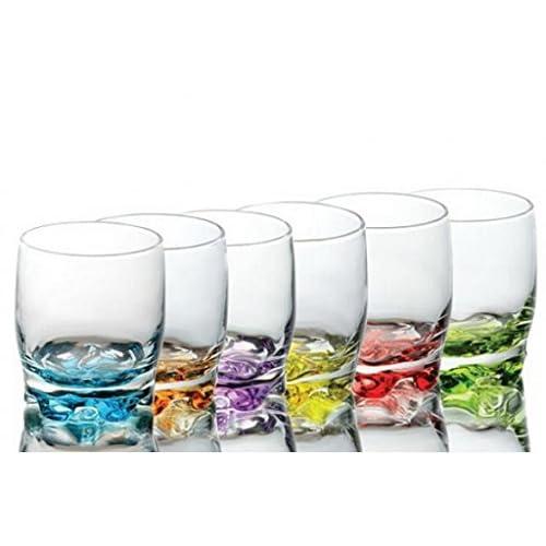 Sables & Reflets 6 Verres à jus - Verres à Eau - Verres à Soda - Fond de Couleur- 250 ML