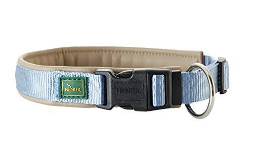 HUNTER SEVILLA VARIO PLUS Halsung für Hunde, Nylon, mit Kunstleder unterlegt, Zugentlastung, 50, blau/taupe