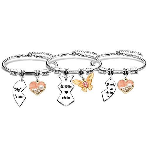 BHXRODE Juego de 3 pulseras para hermanas con forma de corazón y rompecabezas, ideal como regalo de cumpleaños o Navidad