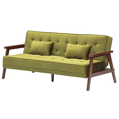 ソファーベッド 【 シングルサイズ 】 ファブリック ( 布製 ) クッション2個 肘付き グリーン ( 緑 ) 大川家具