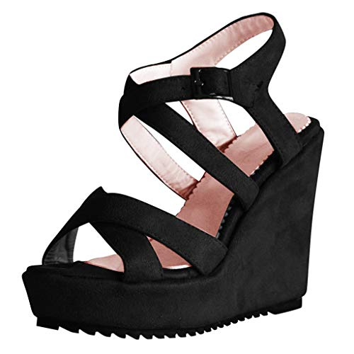 Buy Discount Padaleks Womens's Open Toe Wedges Thick Flat Bottom Roman Sandals Straps Buckle Comfy L...