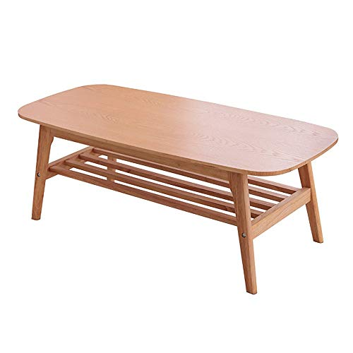 CHENSHJI Tea Table Nordic Solid Wood Double Layer Simple Creative Foldable Office Coffee Table Wooden Table Simple Coffee Table Side Table (Colour: Wood, Size: 120 x 55 x 45 cm)