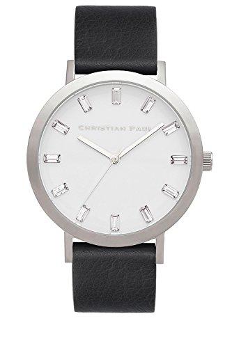 Christian Paul SW-05Hombre Acero Inoxidable Cuero Negro banda esfera blanca reloj