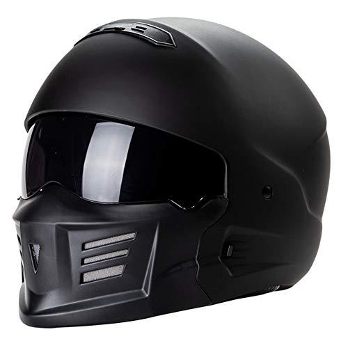 Casco del Motociclo, Adulto Anteriore Flip Motocross Casco da Motociclista con Gli Occhiali di Protezione Maschera, Ghost Warrior, Nero,M