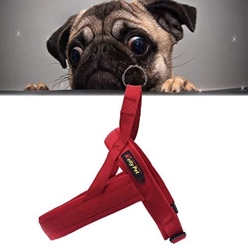 Tuzi Qiuge No-Pull Haustiergurt, Haustierhunde Nylon Komfortables O-Ring A7 Brustgurt Blei Leine, Größe: M, Einstellbarer Bereich: 60-74cm (Color : Wine Red)