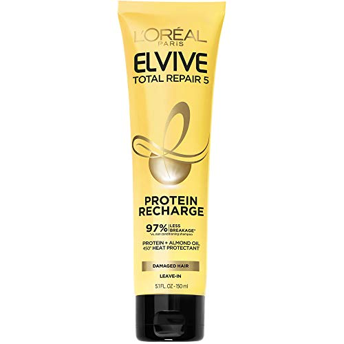 L'Oreal Paris Elvive Total Repair 5 Protein Recharge Leave In Conditioner Treatment, and Heat Protectant, 5.1 Ounce (Packaging May Vary)
