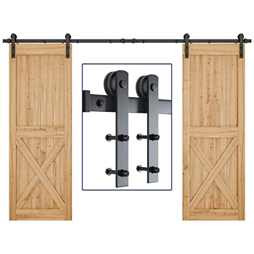 SMARTSTANDARD 10ft Heavy Duty Double Door Sliding Barn Door Hardware Kit - Smoothly and Quietly - Easy to Install - Includes Step-by-Step Installation Instruction - Fit 30' Wide Door Panel(I Shape)