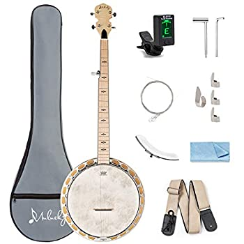 Mulucky 5 String Banjo - Full Size 24 Bracket Maple Body with Adjustable 2-Way Truss Rod with Beginner Kit With Gig Bag Tuner Picks Strings Strap - B1104