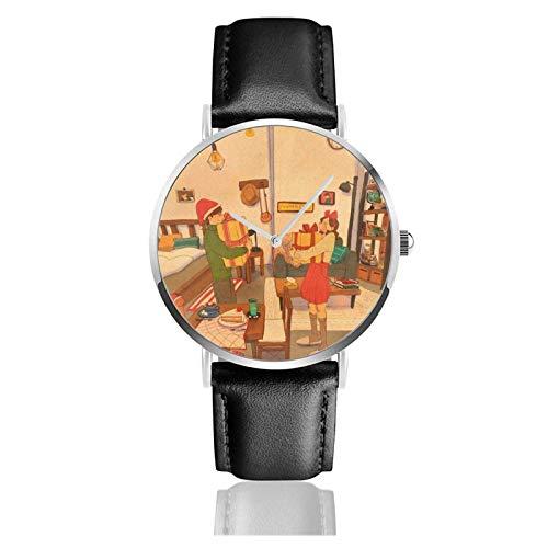 Regalos de Navidad Reloj Movimiento de cuarzo Correa de reloj de cuero impermeable para hombres Mujeres Reloj informal de negocios simple