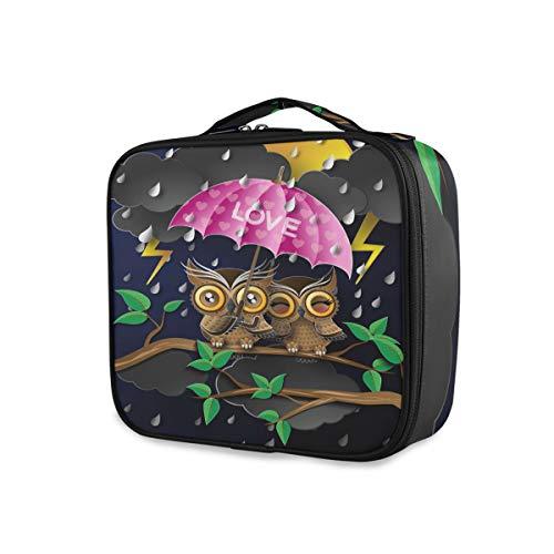 Portable Maquillage Sac Trousse De Toilette De Stockage De Bande Dessinée Mignon Hibou Pluie Parapluie Outils De Voyage Cosmétique Train Case Bourse