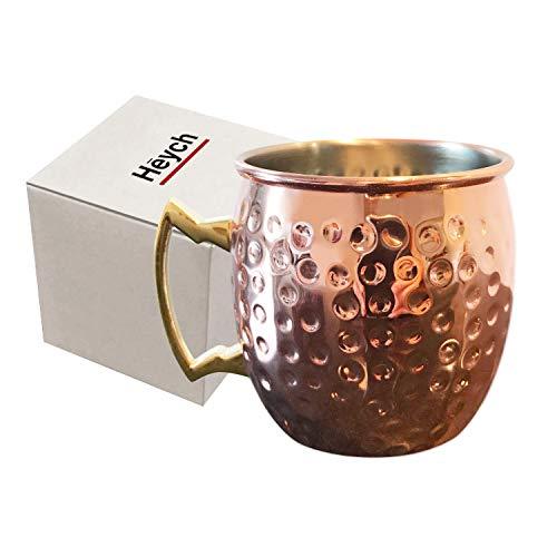 Heych 1 STK. Moscow Mule Kupferbecher COPPLI, gehämmert und handgefertigt (Kupfer und Edelstahl), ideal für kalte oder Heisse Getränke (Cocktails, Bier, Kaffee, Tee etc.)