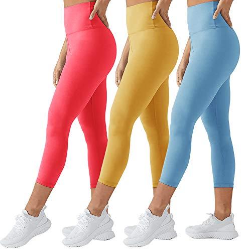 TNNZEET High Waisted Leggings for Women Plus Size Capri Tummy Control Workout Legging - Ultra Soft Tights Slimming (Coral+Ginger+Sky Blue, Medium)