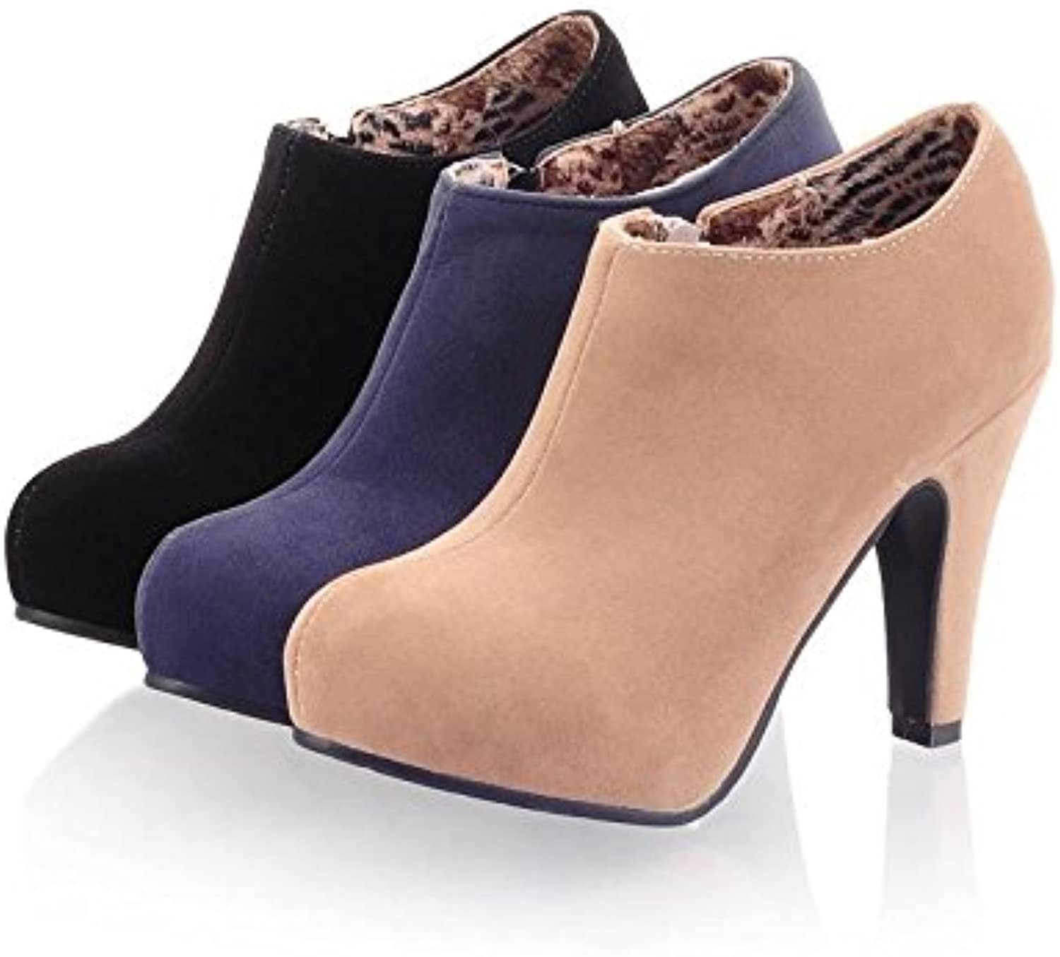 New Fashion Autumn Spring Women Ankle Boots Thin Heels Zip Black Apricot bluee Designer shoes