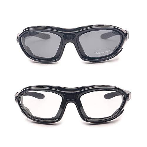 EnzoDate Motorrad Anti-Fog Sonnenbrille Entsprechende Brille Beine und Gürtelgläser Tag und Nacht UV Schutz Winddichte Sandschutzbrille