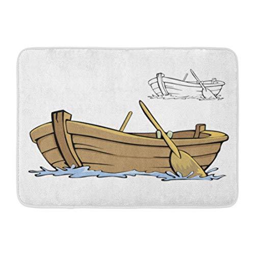 Bad Matte Clipart weiße Reihe Boot Cartoon Ruderboot Holz Holz Meer leer Badezimmer Dekor Teppich