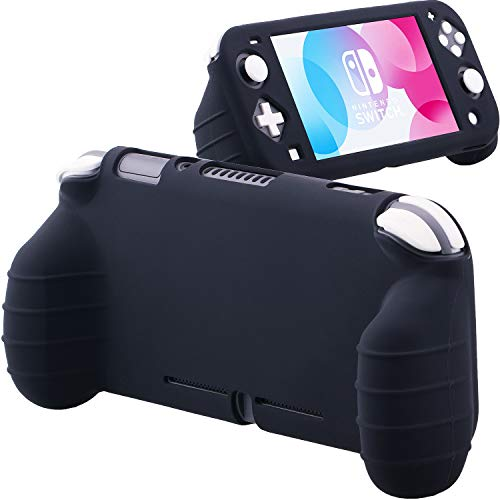 YoRHa Handle Grip Soft Silicone Rubber Protective Cover Case (Black) x 1 for Nintendo Switch Lite [9.2019 Slim Model]