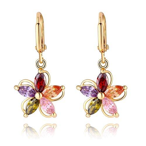 Butterme Femmes Mode plaqué Or Dangle Boucle d'oreille avec Cristal coloré Zircon Fleur Dangle Boucles d'oreilles Pendentif