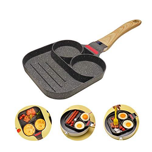 QLZWNL Pfanne für Pancakes, 2-Loch Spiegeleier-Pancake Pfanne, Antihaftpfanne Omelett-Burgerpfanne für die Küche, Mit Verbrühschutz