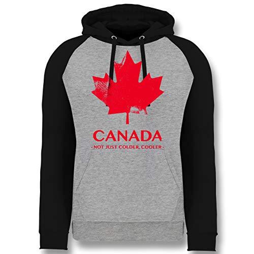 Shirtracer Länder - Canada Vintage Not just Colder Cooler - L - Grau meliert/Schwarz - Canada Kanada - JH009 - Baseball Hoodie