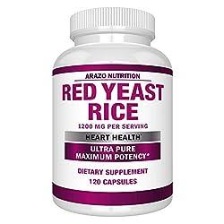 top 10 brand of red yeast rice Red Koji Rice Extract 1200 mg – Citrinin Free Supplement – 120 Vegetarian Capsules – Arazo…