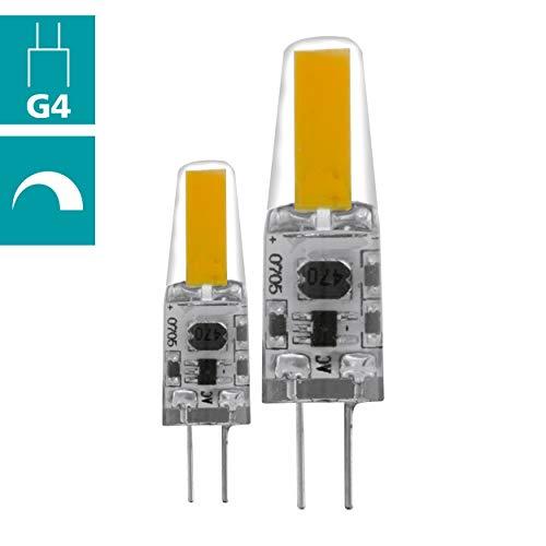 EGLO LED G4 dimmbar 2er-Set, LED Stiftsockellampe, 2 LED Lampen, je 1,8 Watt, 12V, (entspricht 21 Watt), 200Lumen, G4 LED warmweiß, 2700 Kelvin, LED Leuchtmittel, LED Pin G4, Ø 1 cm