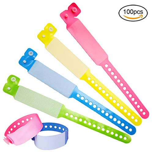 SwirlColor Pulsera Identificativa Adultos, Pulseras para Eventos VIP Desechables PVC Pulseras de Seguridad para Adolescentes -100 Pieza (Adulto, Rosa+Amarillo+Azul+Verde)