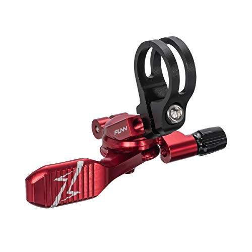 Funn UpDown Mountain Bike Dropper Seatpost Remote Lever with Smooth, Easy-to-use Action, 4-Way Mount, Full CNC Finish, Lightweight and Stiff (Red)