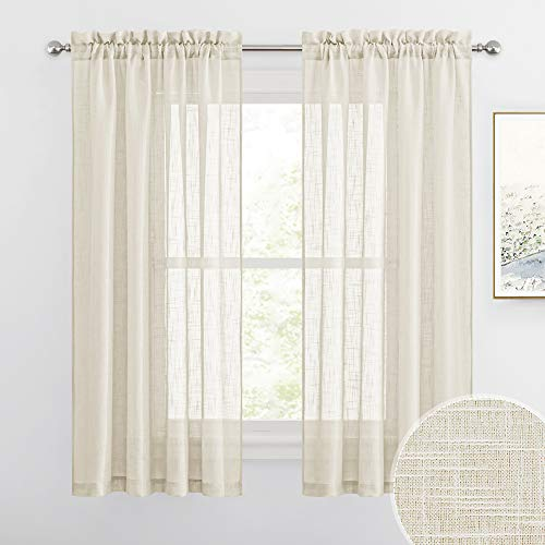 RYB HOME Linen Textured Sheer Window Curtains for Bedroom Privacy Sheer Drapes, Sunlight Filtering Solid Sheer Curtains for Bedroom Bathroom, Warm Beige, 52 x 63 inch Each Panel, 1 Pair