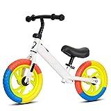 12 Pouces de vélo d'équilibre, for 2 vélo d'entraînement en Bas âge, 3, 4, 5, 6 Ans, vélo de poussée, Cadre Haut en Acier au Carbone, Enfants Scooter (Noir, Blanc, Bleu, Jaune, Rouge) ANJT