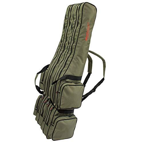 Angel Tasche Futteral Rutentasche Fishing Rucksack - Oliv 4 Innenfächer - 190 cm