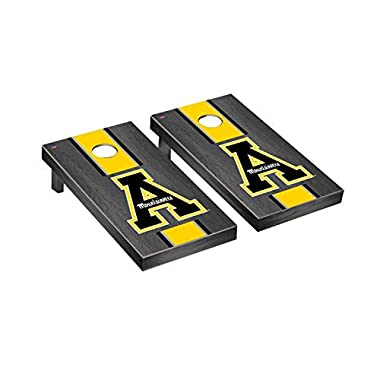 Victory Tailgate Regulation Collegiate NCAA Onyx Stained Stripe Series Cornhole Board Set - 2 Boards, 8 Bags - 600+ Teams Available