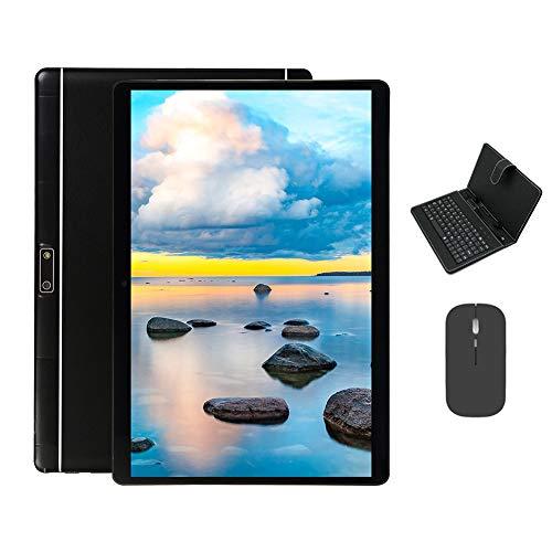 BESTSUGER Tableta Android, Tablet 10.1 Pulgadas con 32GB ROM 2GB RAM, Dual SIM 2 Cámara, Android 7.0, Funda con Teclado, Ratón Bluetooth, Certificación Google gsm