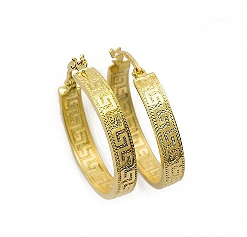 Griechische Schlüssel Ohrringe Creolen Gelbgold Aus 14 Karat / 585 Gold (3 x 23 Ø mm) - PRI142