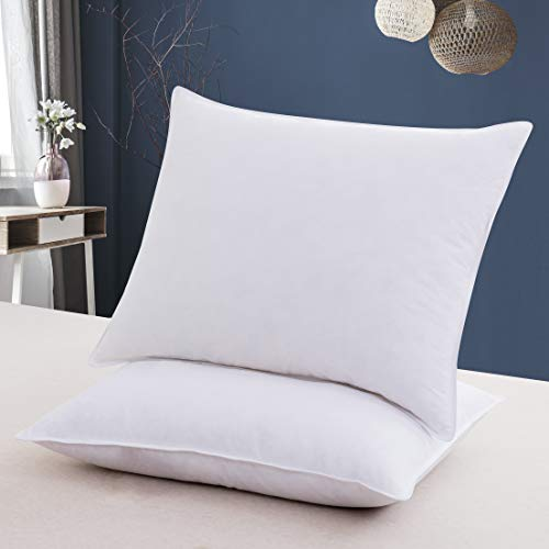 Eastwarmth Premium Goose Down Feather Pair Pillows Bedding Hotel Pillows Set of 2 100% Cotton Cover Standard 20x26inch White Color