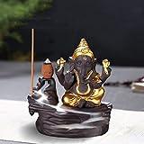 Quemador de incienso de reflujo con 10 conos de incienso de reflujo, quemador de incienso de cerámica para el hogar (estilo 3)
