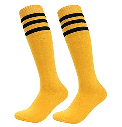 Skyeye Männer Dame Fußball Socken Mädchen Strümpfe Damen Kniestrümpfe Retro Jungen und Mädchen Sportsocken Zum Kinder Blau und Rot Streifen Katze Stil Size 35cm (Gelb)