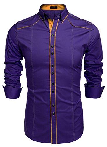 COOFANDY Camisa Caballero Morada Hombre Original Vintage Cuello en V sin Bolsillo 3XL
