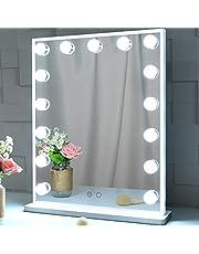 Wonstart 女優ミラー led化粧鏡 ハリウッドミラー 15個LED電球付き 寒色・暖色2色調光 明るさ調整可能 スタンド付き 卓上/壁掛け両用