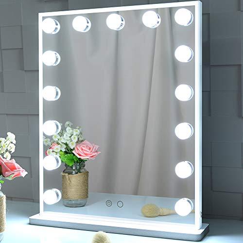 BEAUTME Hollywood Kosmetikspiegel mit Beleuchtung, beleuchteter Standspiegel für Schlafzimmer, LED-Kosmetikspiegel mit 15 dimmbaren Glühlampen, an der Wand montierter Beleuchtungsspiegel (weiß)