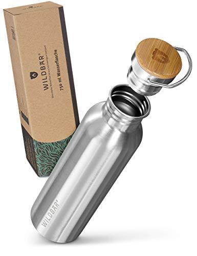 WILDBÄR® - Premium Trinkflasche Edelstahl [750 ml] einwandig u. auslaufsicher mit Bambus Deckel - Edelstahl Trinkflasche für Sport, Wandern u. Büro - BPA freie Trinkflasche Edelstahl Kinder